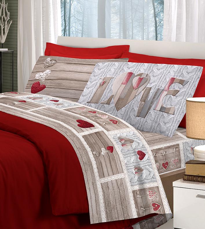 Completo letto flanella shabby love