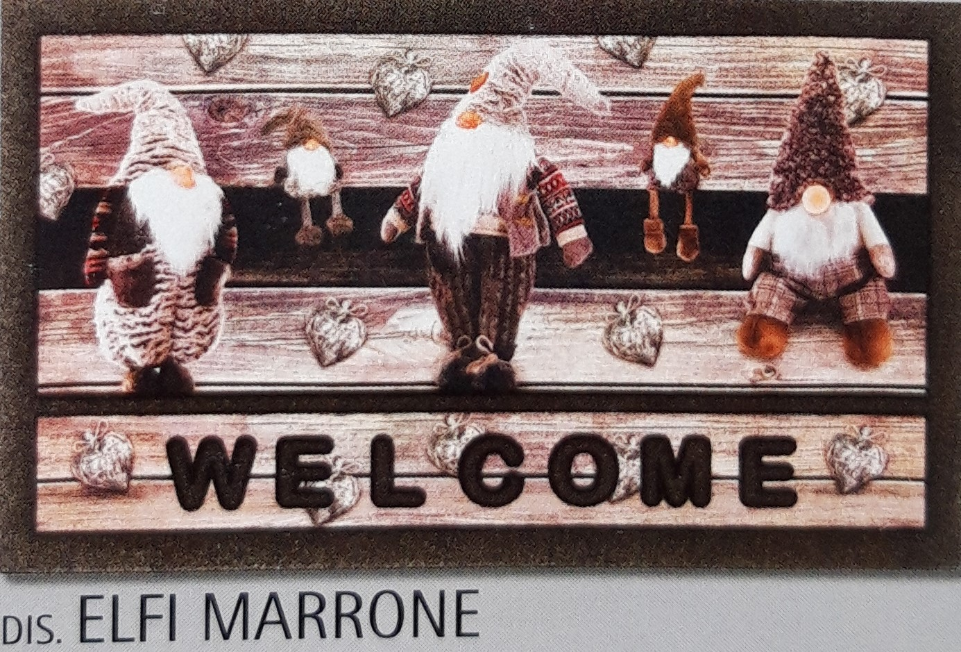 Zerbino Antiscivolo Stampa Digitale Elfi Marrone Welcome